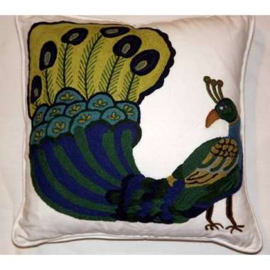Crewel Pillow Peacock Design on white Cotton Fabric